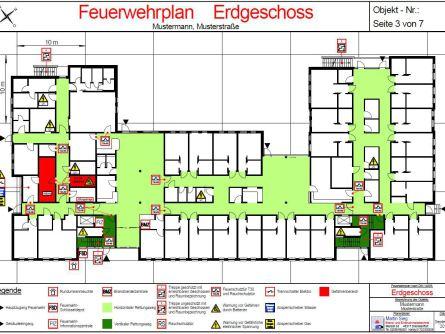 Feuerwehrplan, Erdgeschoss, DIN 14095, DIN 4844-3